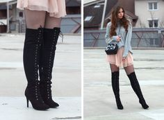 Fashion Love: TURTLENECK PULLOVER, CHIFFON DRESS & LACE UP OVERKNEES