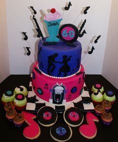 Fifties themed birthday Sweet Treats, Birthday Cake, Cakes, Desserts, Food, Tailgate Desserts, Sweets, Deserts, Cake Makers