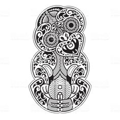 "Hei-Tiki illustration in a tribal Tattoo style. The Hei-Tiki is a Maori talisman, usually worn around the neck. It refers to the ""first man"" and the ancestors. It offers protection and symbolizes. Tiki Tattoo, Celtic Tattoos, Maori Tattoos, Tatoos, Borneo Tattoos, Hawaiian Tribal Tattoos, Samoan Tribal, Filipino Tribal, Zealand Tattoo"
