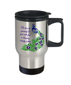 Excited to share the latest addition to my #etsy shop: Peacock travel mug - Peacock coffee travel mug - Peacock feather mug - Be true to yourself! Travel Mug https://etsy.me/2JC67GT #housewares #silver #no #metal #giftforwomen #giftformen #coffeetravelmug #travelmug #t