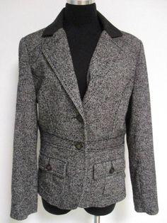 CAbi #629 Fox Hunt Black Gray Tweed Equestrian Riding Jacket Blazer Coat 8 M #CAbi #Blazer