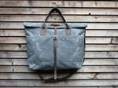 waxed canvas bag carry all/tote bag with roll to close top, and adjustable shoulderstrap UNISEX on Etsy,