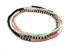 Multi strand seed bead bracelet, stretch wrap beaded bracelet, seed bead jewelry, bohemian, stackable, necklace, anklet, mint, coral, black