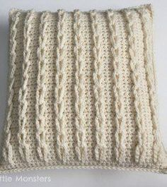 crochet cable loop pillow