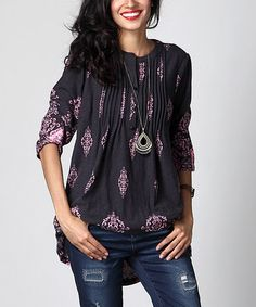 Look at this #zulilyfind! Charcoal & Pink Damask Notch Neck Pin Tuck Tunic by Reborn Collection #zulilyfinds