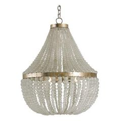Edisto Coastal Beach Style White Beaded Chandelier