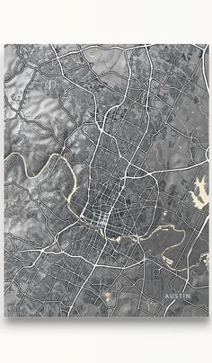 Modern city streets and natural landscape in a black and white vintage look design of Austin, Texas by Maps As Art. #map #austin