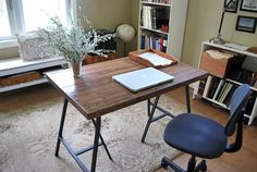 How to make a Wood Trestle Desk (using IKEA trestle legs and old wood flooring!)    {An Oregon Cottage}
