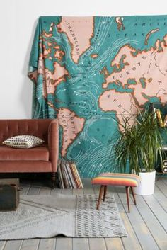 4040 Locust Ocean Current Tapestry blue map tapestry world atlas cotton wall hanging
