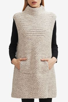 Shop the latest hand knit HANIA New York collections of luxury knitwear and accessories at our online boutique. Ärmelloser Pullover, Long Sweaters For Women, Knit Vest Pattern, Shearling Vest, Crochet Clothes, Baby Knitting, Beginner Knitting, Knit Dress, Knitwear