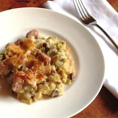 Ham, Potato and Broccoli Casserole - cream of mushroom soup, ham, potatoes, cheese, sour cream & broccoli