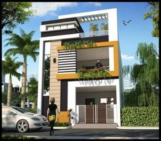Home Design Plan This villa is modeling by SAM-ARCHITECT With Three stories level. It's has 3 bedrooms.Home Design Plan 3 Storey House Design, Duplex House Design, Duplex House Plans, House Front Design, Small House Design, Modern Exterior House Designs, Architectural Design House Plans, Modern House Design, Home Exterior Design