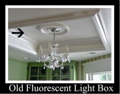 Kitchen Details  framed in an old fluorescent light box from the 70s with molding to make it a feature not an eyesore