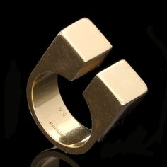 Modernist Gold Ring by Pierre Cardin, circa 1960s. Llikely designed by Dinh Van for Pierre Cardin. Dinh Van, trained at Cartier , worked for both Pierre Cardin and Paco Rabanne in the 1960's before opening his own store In 1965. The clean lines and modernist style is truly 60's Cardin. (Hancock's)