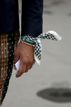 Cute cartoon car-print scarf/bracelet WGSN Street Style, Paris Mens Fashion Week, Spring/Summer 2014