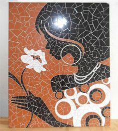 Belo painel com técnica de mosaicos