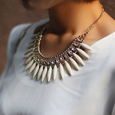 Fashion Rhinestoned Leaf Shaped Pendant Alloy Necklace For Women, WHITE in Necklaces | DressLily.com