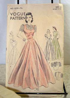 Vintage 1930s Vogue Sewing Pattern 8712 Size 16 B 34 Evening Dress