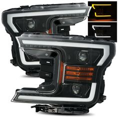 For 18-19 Ford F150 Switchback LED Tube Polished Black Dual Projector Headlights #RacerInnovation