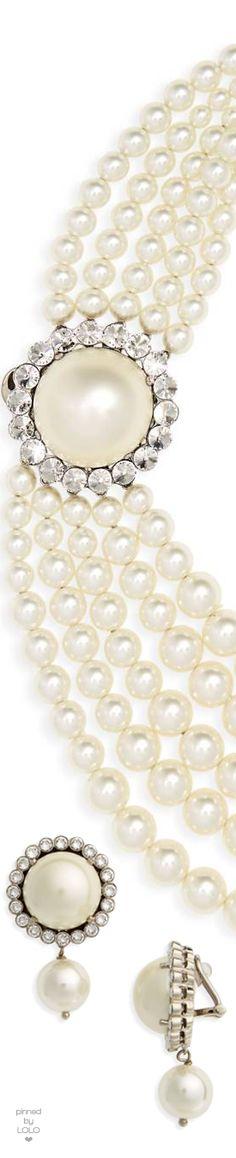 Miu Miu Multistrand Imitation Pearl Necklace and Pearl & Crystal Drop Earrings