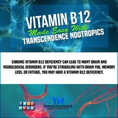 Your Monday fun fact!  The importance of the vitamin cannot be overstated. B12 is a vital nutrient required to function at optimal cognitive capacity and overall energy levels.  Most bioavaliable synthetic form: Methylcobalamin  TranscendenceNootropics.com  ‪#‎nootropics‬ ‪#‎nootropic‬  ‪#‎transcendencenootropics‬ ‪#‎piracetam‬ ‪#‎adrafinil‬ ‪#‎sunifiram‬ ‪#‎oxiracetam‬ ‪#‎aniracetam‬ ‪#‎modafinil‬ ‪#‎nuvigil‬ ‪#‎phenylpiracetam‬ ‪#‎phenibut‬ #sunifiram ‪#‎alphagpc‬ ‪#‎choline‬