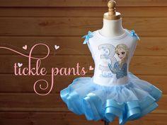 Frozen Birthday Tutu Outfit Elsa Includes top tutu by TicklePants