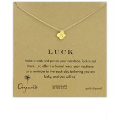 Women's Dogeared 'Luck' Boxed Clover Pendant Necklace ($58) ❤ liked on Polyvore featuring jewelry, necklaces, petite jewelry, clover pendant necklace, handcrafted jewelry, clover jewelry and clover necklace