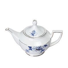 Porlien Elegance Dinnerware Set Collection Blue Floral Porcelain English Style Teapot Trimmed in Gold with Infuser for Loose Tea 44 Oz Service for 6 Perfect for Teatime Tea Party  Home Dcor >>> Details can be found by clicking on the image.(It is Amazon affiliate link) #HaveTea