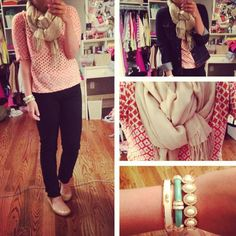 Shirt: J.Crew  Jacket: Old Navy  Pants: AG   Flats: 9 West  Bracelets (l to r): Vineyard Vines, Fornash, J.Crew