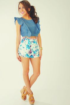 Jean frilled top & floral printed bottoms
