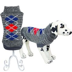 Bolbove Pet Classic Argyle Turtleneck Sweater for Small Dogs  Cats Knitwear Grey Large ** Continue to the product at the image link.