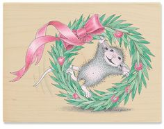 Image detail for -House Mouse Tumble Wreath Rubber Stamp