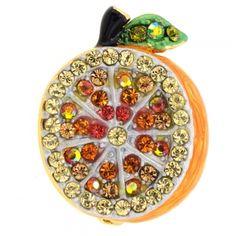 Orange Fruit Swarovski Crystal Pin Brooch