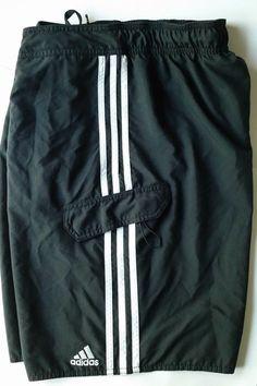 0d83e2925d ADIDAS Men's Board Shorts Swim Suit Trunks Black White 3 Stripe 9.5