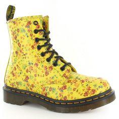 I waaaaaaaaaaaaaaaaaant these! Dr Martens 1460 Womens Leather Floral Boots Yellow | eBay