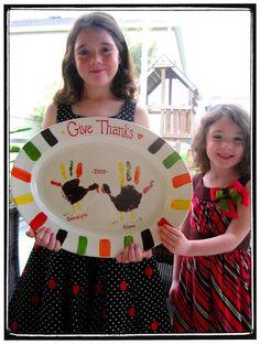 Cute Thanksgiving platter idea!--order big platters to do this at PotSpot!!
