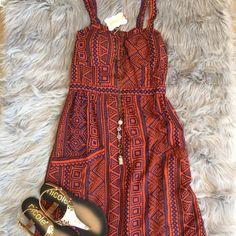 Angie tribal print dress Cute tribal print dress with front pockets Angie Dresses Midi