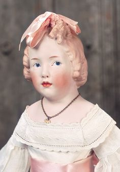 Rare German Bisque Girl with Sculpted Ringlet Curls by Gebruder Heubach