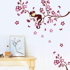 DIY Cute Sleepy Monkey on the Branch Vinyl Wall Stickers Flower Home Decal Kids Room Nursery Wall Decor Winder Sticker