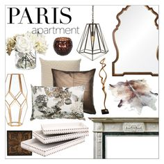 Paris Apartment with brass by szaboesz on Polyvore featuring interior, interiors, interior design, home, home decor, interior decorating, Arteriors, Mirror Image Home, Broste Copenhagen and INC International Concepts