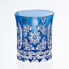 Sklenička na koňak * ručně broušené modré křišťálové sklo * Crystal.