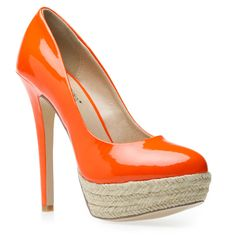 Tangerine espadrille heels - these would look terrible on my white legs.