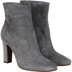L'Autre Chose Boots (€254) ❤ liked on Polyvore featuring shoes, boots, grey, ankle boots, leather bootie, chunky ankle boots, grey ankle boots and short boots