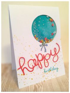 "Birthday shaker card created with Stampin Up cardstock, stamps from ""Celebrate Today"", thinlits ""Hello You""."