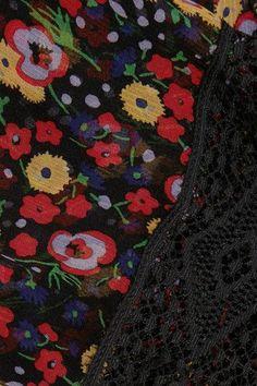 Anna Sui - Lace-paneled Printed Silk-georgette Mini Dress - Black - US10