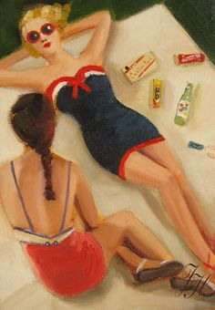 """""""girl talk"""" by janet hill - looooove this painting"""