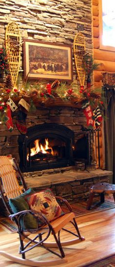 """Log Cabin at Christmas, complete with the """"Bears dancing in the woods"""" picture over the fireplace....love!"""