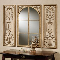 Elegant Dining Room Mirrors for Your Decorating Ideas: Immaculate 6 Lite Dining Room Mirrors With Artwork Floral Frame Golden Polished Over Black Wooden Desk To Decorate Mediterranean Dining Areas Designs
