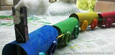 Chugga-chugga, chugga-chugga...CHOO-CHOO!Roll into the station with your child after helping them create their very own choo-choo train out of empty toilet paper rolls!        Materials You'll Need  Toilet Paper Rolls (4) Spring Clothespin Cotton Ball Large Bu