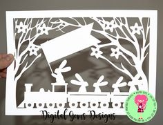 Rabbits On A Train Journey Papercut Template SVG / by DigitalGems